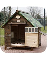 Outdoor Rainproof Carbonized Wooden Dog House Kennel Dog House Kennel Cat Kennel Dog Cage Dog Bed Pet Kennel-Double Door with Window + Cotton Pad-XL-Internal Space 71 * 86Cm