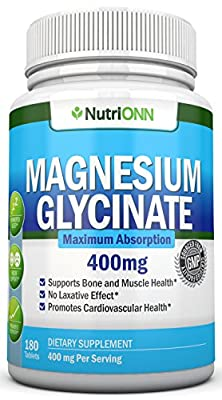 Magnesium Glycinate - 400 mg - 180 Tablets - Maximum Absorption - Chelate Vegan Supplement - High Bioavailability Pills - Great For Sleep, Anxiety, Heart Health, Muscle Cramps and Bone Strength