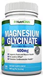 Magnesium Glycinate – 400 mg – 180 Tablets – Maximum Absorption – Chelate Vegan Supplement – High Bioavailability Pills – Great for Sleep, Anxiety, Heart Health, Muscle Cramps and Bone Strength
