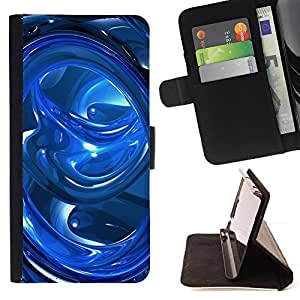 For Samsung Galaxy J1 J100 J100H Blue Abstract Swirls Style PU Leather Case Wallet Flip Stand Flap Closure Cover