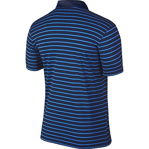 Nike Icon Stripe - Polo de manga corta para hombre azul, blanco, (MIDNIGHT NAVY/PHOTO BLUE/WHITE)