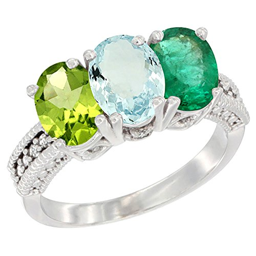 Oval Emerald 3 Stone Ring - 3