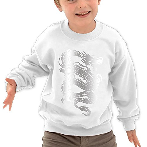 Puppylol Chinese Dragon Kids Classic Crew-Neck Pullover Hoodie White 4 Toddler