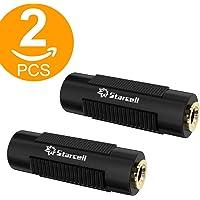 Lot de 2 coupleurs jack femelle 3,5mm audio stéréo à connecteurs en plaqué or, Noir