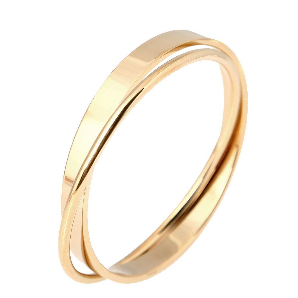 Baoli Titanium 18k Gold 2 Women's Plain Bangle Bracelet Together (yellow gold color)