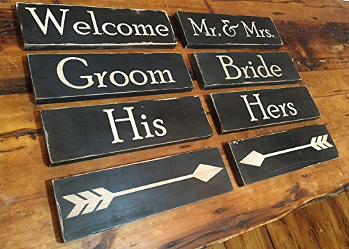 Wedding Sign Set - Custom Hand Painted 8 piece