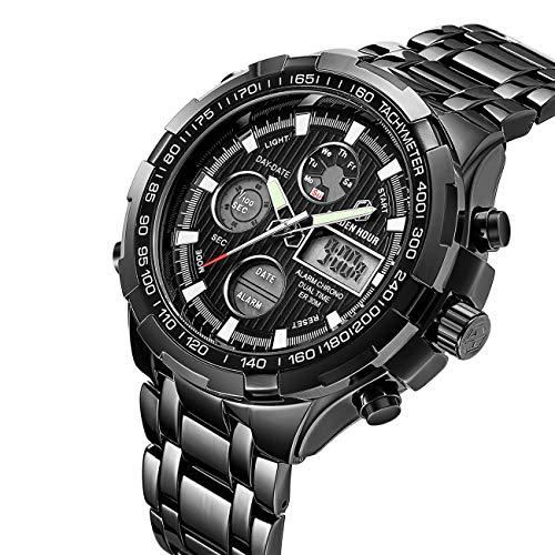 Men's Digital Quartz Analog Sport Watches Stainless Steel Waterproof Wrist Watch Black