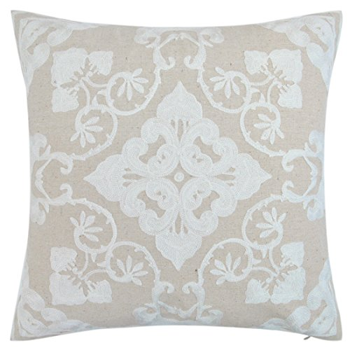 baibu Cotton Decor Accent Throw Pillow Case Embroidery Beige Cushion Cover Floral - Beige Floral Pillow