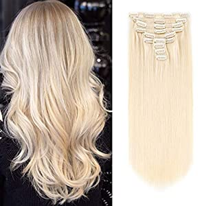 ABH AMAZINGBEAUTY HAIR Luxury Thick Remy Human Hair Double Weft Clip in Hair Extensions, 10 Pieces with 21 Clips, Full…