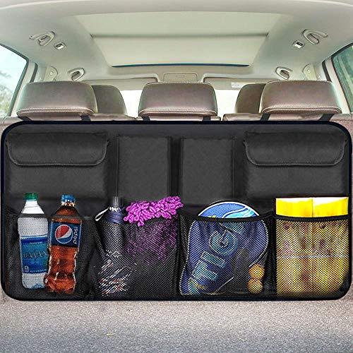 - Trunk Organizer Car Storage - Auto Organizer for SUV Van Container Car Organization Collapsible Compartment Pocket Mesh