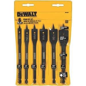 DEWALT DW1587 6 Bit 3/8-Inch to 1-Inch Spade Drill Bit Assortment