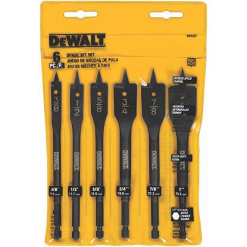 DEWALT DW1587 6 Bit 3/8-Inch to 1-Inch Spade Drill Bit Assortment (Wood Drill Bit)