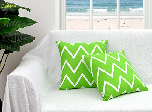 Green Throw Pillow Cover (Set of 2) for Sofa Couch 16 X 16 Inches Bold Chevron Design 100% Cotton Fabric Soft Accent Decorative Cushion Cases Collection by Value Homezz (Green & White)