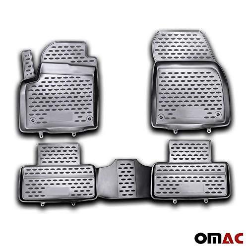 OMAC USA Complete Set Custom Fit All-Weather 3D Molded Black Rubber Floor Mat Range Rover EVOQUE 2012-2017 Models