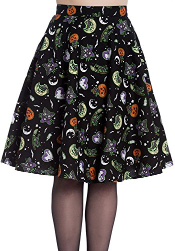 Halloween Skirt (Hell Bunny Salem Halloween Pumpkin Ghost Cat Printed Retro A-Line Skater Skirt (X-Small, Black))