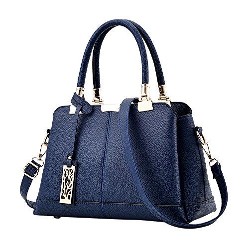 Bandoulière Chic Main D'épaule Bag Casual Handbag Kangrunmys Bleu Fille Women Mode Femme À Cabas Cher Sac Pu Pas Cuir PwqSI