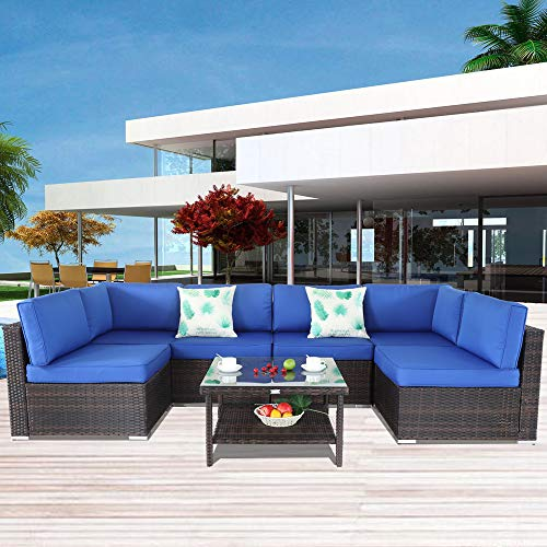 Outside Patio Furniture Brown Rattan Sofa Wicker Sectional Sofa Set Conversation Set Garden Couch Royal Blue Cushion 7pcs]()