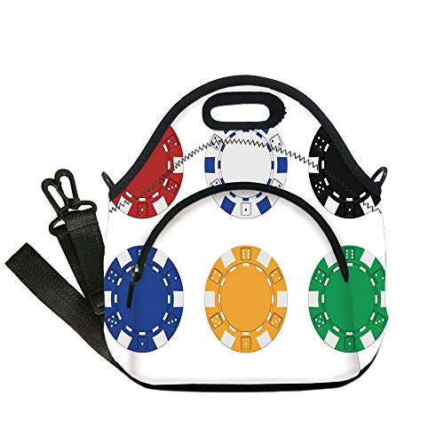 - Insulated Lunch Bag,Neoprene Lunch Tote Bags,Poker Tournament Decorations,Collection of Colored Casino Chips Realistic Tokens Set Image Decorative,Multicolor,for Adults and children