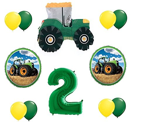 12pc new BALLOON set GREEN 2nd BIRTHDAY TRACTOR second PARTY favors GFT decoration VHTF -