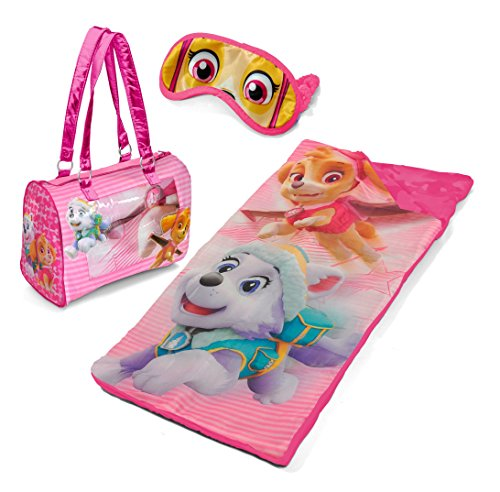 (Paw Patrol Girls Sleepover Slumber Set with Sleeping Bag, Eye Mask and Carry Purse)