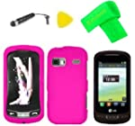 Hard Case Phone Cover + Extreme Band + Stylus Pen + LCD Screen Protector + Yellow Pry Tool for LG Xpression 2 C410 Pink