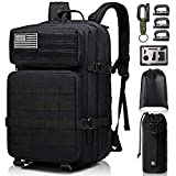 Tactical Backpack - Monoki Military Tactical Backpack, 42L Army 3 Day Assault Pack, Large Molle Bug Out Bag Backpacks Rucksack for Outdoors Hiking Camping Hunting Trekking Traveling, with 10Pcs Gift Kits - Black