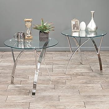 Davina Tempered Glass Round End Tables w/Chrome Legs (Set of 2)