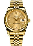 Mens Full Gold Watch Automatic Mechanical Gilded Steel Self-wind Sapphire Glass Dress waterproof watch