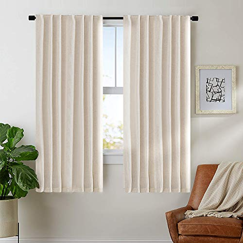 Linen Textured Curtains for Bedroom Drapes Rod Pocket Back Tab Linen Blend Curtain Panels, Window Treatments for Living Room Patio Door 1 Pair 63 Inches Crude (Tab Back Curtain)