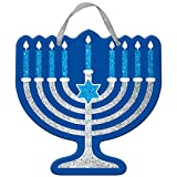 "Amscan Joyous Hanukkah Festival Menorah Glitter Sign Decoration, Blue, 11 1/2"" x 11 1/2"""