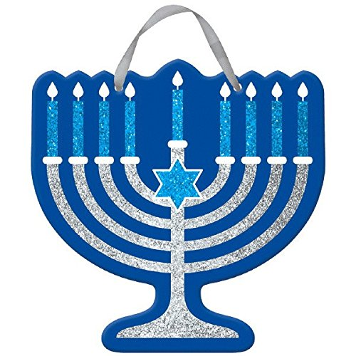 Amscan Joyous Hanukkah Festival Menorah Glitter Sign Decoration, 11 1/2