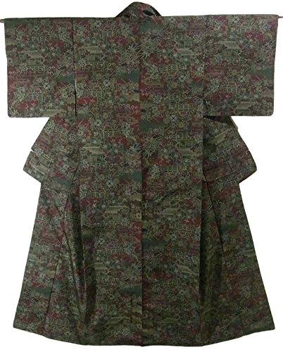 リサイクル 着物 紬 色紙文に茶屋辻文様 裄62.5cm 身丈160cm