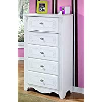 Ashley Furniture Signature Design - Exquisite Chest of Drawers - 5 Drawer Dresser - Kids Bedroom - White