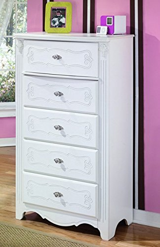 Ashley Furniture Signature Design - Exquisite Chest of Drawers - 5 Drawer Dresser - Component Piece - Kids Bedroom - White B188-46
