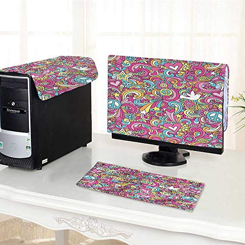 (Auraisehome Keyboard dust Cover Computer 3 Pieces Psychedelic Groovy Peace Notebook Doodle Style Doves Education Swirly Starburst Image Computer dust Cover /23