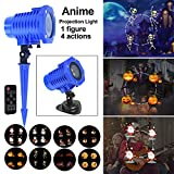 Projection Light, ANBUY 8 Slides Animated Led Projector Light 5W Sata Claus Elk Patterns Waterproof IP65 with Remote Control, Ideal for Decoration on Christmas Halloween Birthday Party Holiday