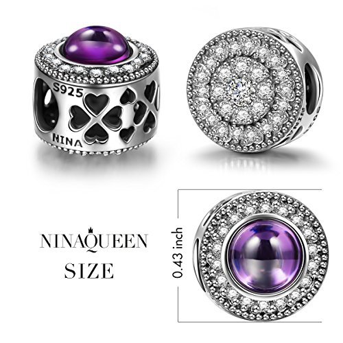 "NinaQueen ""Wishing Charms"" 925 Sterling Silver Hollow Design Purple Bead Charms"