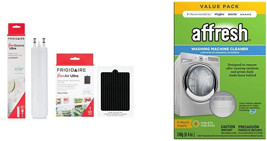 Frigidaire FRIGCOMBO ULTRAWF Water Filter & PAULTRA Air Filter Combo Pack & Affresh W10501250 Washing Machine Cleaner, 6 Tablets: Cleans Front Load and Top Load Washers, Including HE