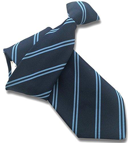 Men's Clip On Tie - Navy with Sky Blue Double Stripes (Sky Blue Stripes Tie)