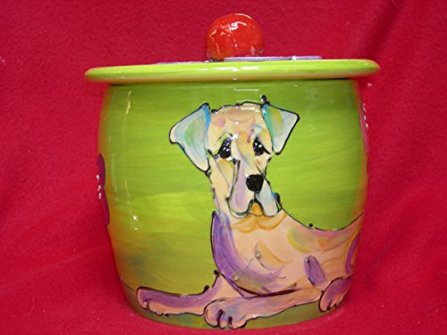 - Great Dane Ceramic Treat Jar. Personalized at no Charge. Signed by Artist, Debby Carman.