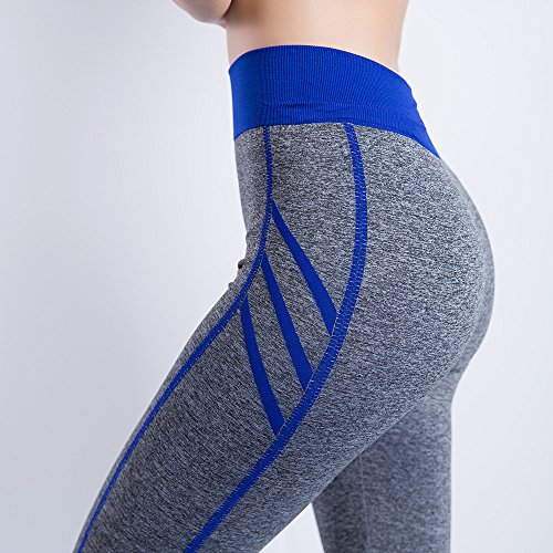 iLUGU Women Gym Yoga Patchwork Sports Running Fitness Leggings Pants Athletic Trouser(S,Blue-24) by iLUGU (Image #2)