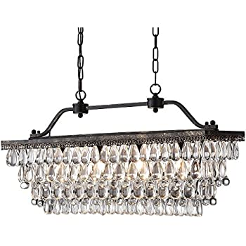 Attirant Antique Bronze Rectangular Crystal Chandelier Dining Room Ceiling Fixture  Light