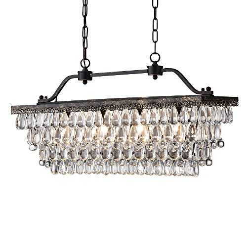 Edvivi 4-Light Antique Bronze Rectangular Linear Crystal Chandelier Dining Room Ceiling Fixture Light | Glam Lighting