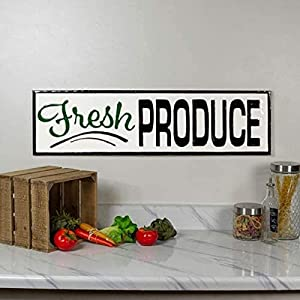 VIPSSCI Fresh Produce Sign Metal Wall Mounted Decorative Plaque Kitchen Wall Art Garden Decor