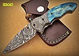 Poshland Knives FN-A-76, Custom Handmade Damascus Steel 7.2 Inches Folding Knife – Beautiful Colored Bone Handle with Damascus Steel Bolsters
