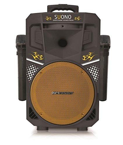 (Karaoke Machine, Wireless Portable Speakers with 2 Wireless Microphones, PA Sound System (MCP-75 Suono) Yellow & Black)