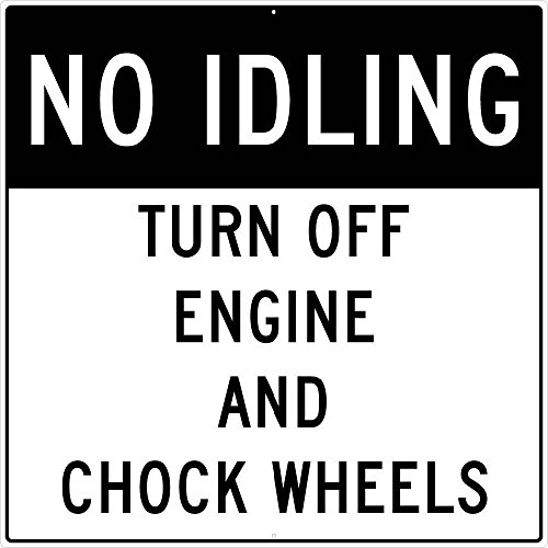 National Marker Corp. M787J No Idling Turn Off Engine And Chock Wheels Sign, 48 Inch X 48 Inch, 0.080 Egp Alum by National Marker