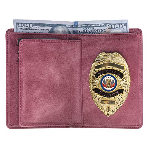Police Badge Wallet, All Leather, Fits Any Shape Badge with Pin Back- Dusty Rose