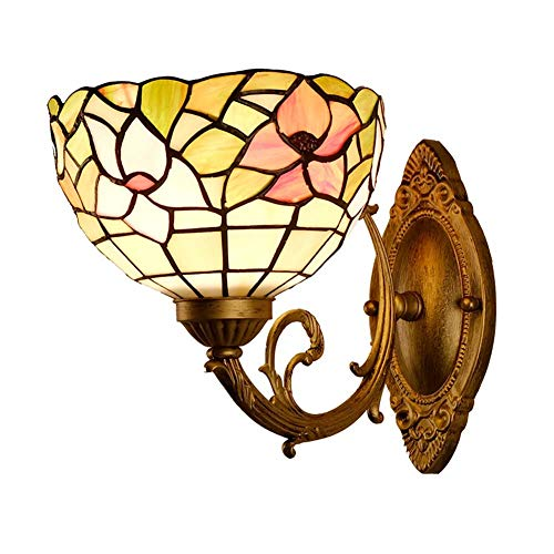 XNCH Tiffany Style Wall lamp Retro Glass Wall Lighting Hall Bedroom bar Clubhouse Aisle Balcony Bedside lamp Small Floral Wall sconces ()