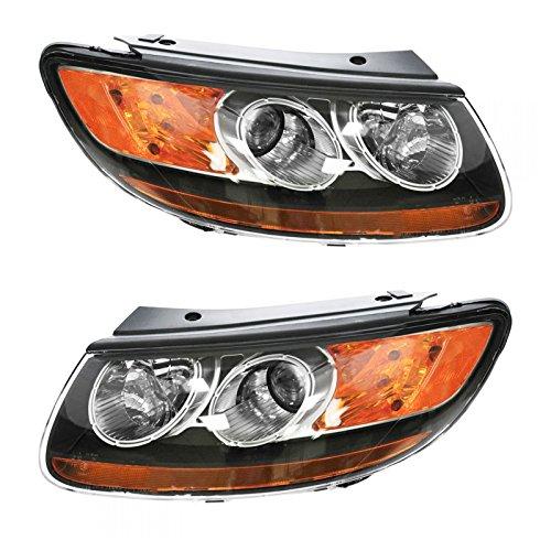 (Headlight Headlamp Left LH & Right RH Pair Set of 2 for 07-09 Santa Fe)